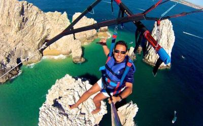 gorgeous views of cabo san lucas bay whilst parasailing off medano beach