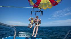 Enjoy the spectacular views of Medan Beach, Lands end and the Pacific Ocean, whilst Parasailing in Cabo San Lucas